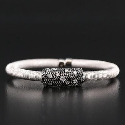 Sterling Silver Spinel and Cubic Zirconia Flexible Cuff