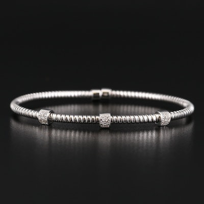 Sterling Silver Flexible Cuff with Cubic Zirconia Stations