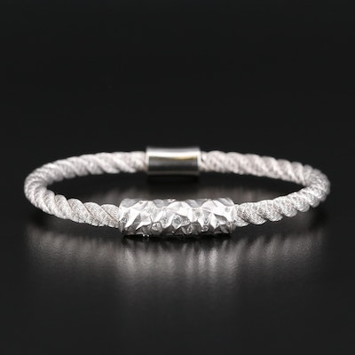Sterling Silver Cubic Zirconia Twisted Bracelet