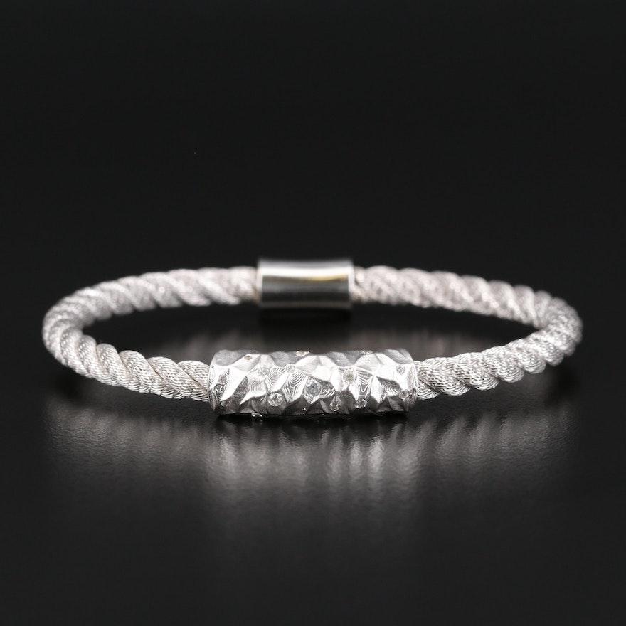 Sterling Silver Cubic Zirconia Twisted Bracelet