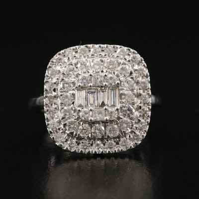 14K 1.51 CTW Diamond Double Halo Ring