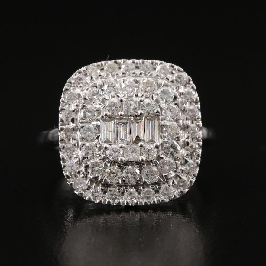 14K 1.51 CTW Diamond Double Halo Ring