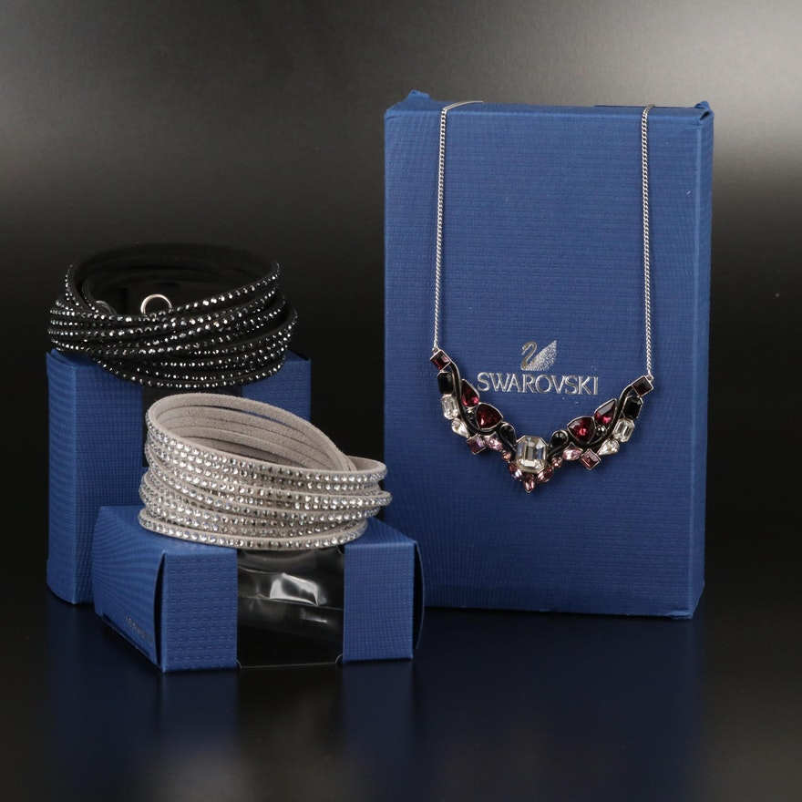 "Swarovski ""Impulse"" Necklace and Suede Wrap Bracelets"
