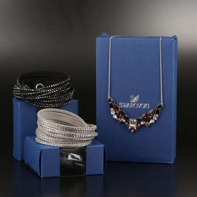 "Swarovski Suede Wrap Bracelets and ""Impulse"" Stationary Necklace"