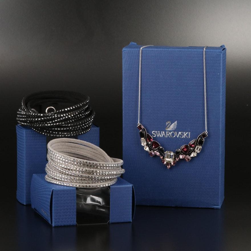 "Swarovski Suede Wrap Bracelets and ""Impulse"" Stationary Necklace"