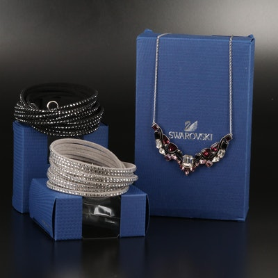 "Swarovski ""Impulse"" Necklace and Suede Wrap Bracelets"