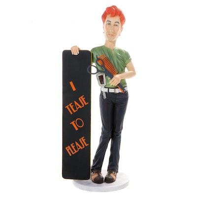 """I Tease To Please"" Freestanding Hair Dresser Sculpture"