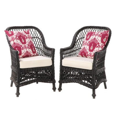 Woven Rattan Patio Arm Chairs with Pottery Barn Accent Pillows