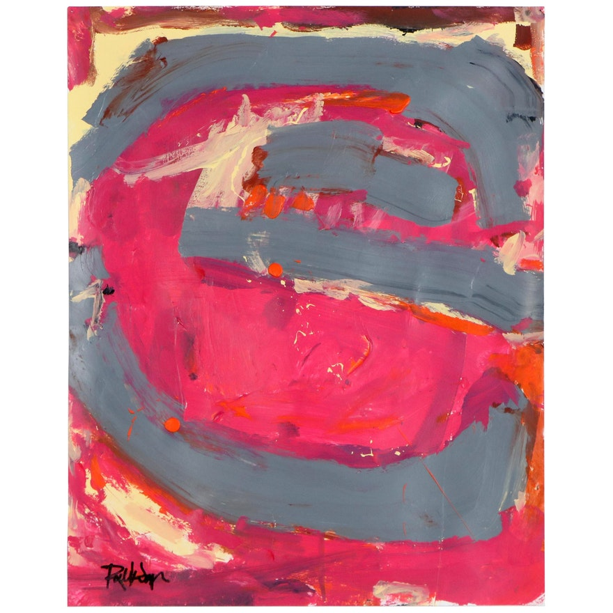 """Robbie Kemper Abstract Acrylic Painting """"Gray Shape Pink,"""" 21st Century"""