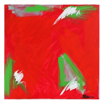 "J. Popolin Abstract Acrylic Painting ""Christmas Trees,"" 2020"