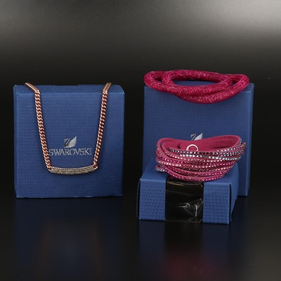 "Swarovski Assortment Featuring ""Vio"" Stationary Necklace and ""Stardust"" Bracelet"