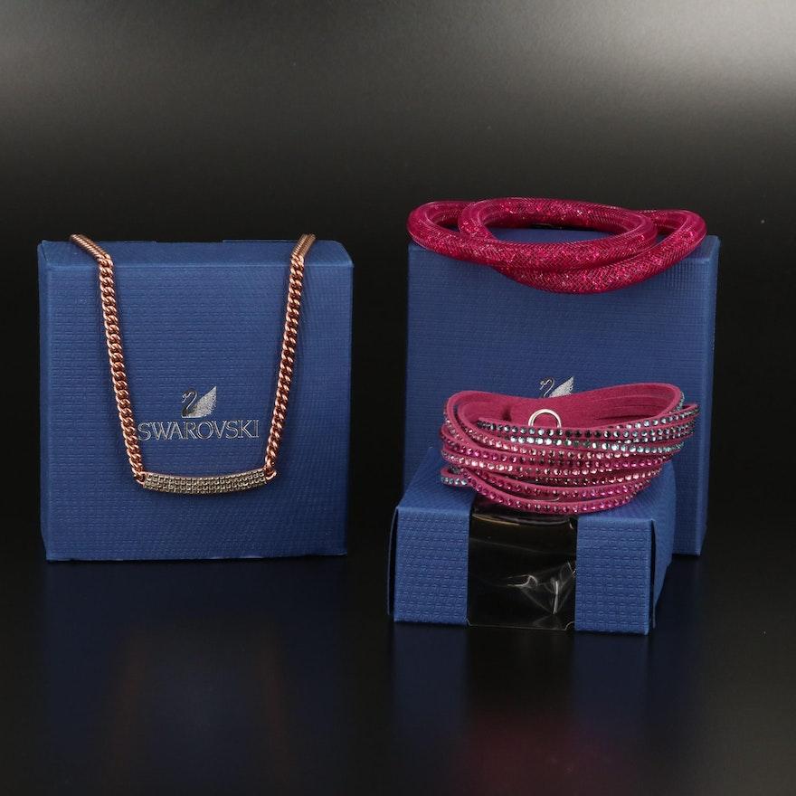 "Swarovski Assortment Featuring ""Vio"" Stationary Necklace and ""Stardust"" Bracelet"