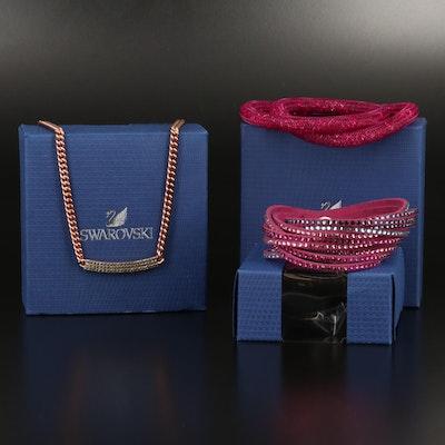 "Swarovski Crystal ""Vio"" Necklace, ""Stardust"" and Wrap Bracelets"