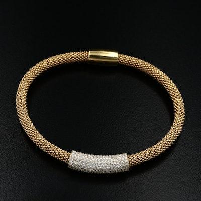 Sterling Silver Cubic Zirconia Mesh Bracelet