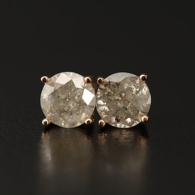 14K Rose Gold 0.80 CTW Diamond Stud Earrings