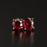 14K Rose Gold Ruby Stud Earrings
