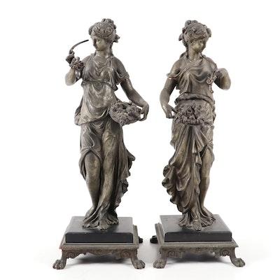 Art Nouveau Spelter Figurines, circa 1900