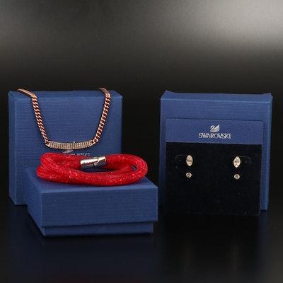 "Swarovski ""Vio"" Necklace, ""Stardust"" Bracelet and ""Harley"" Stud Earrings"