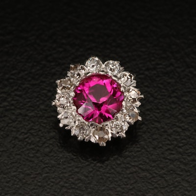 Platinum and 14K Ruby and Diamond Pendant