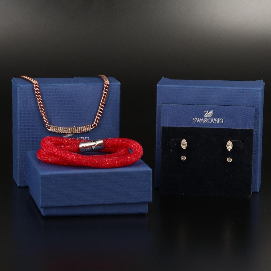 "Swarovski Crystal ""Vio"" Necklace, Harley Earring Set and ""Stardust"" Bracelet"