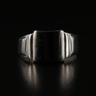 900 Silver Black Onyx Ring