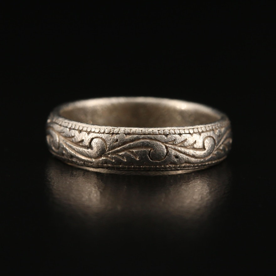 Sterling Silver Band with Textured Foliate Detail