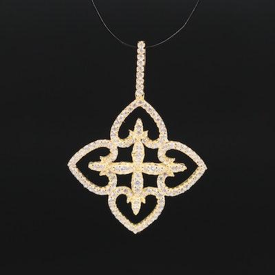Sterling Silver Cubic Zirconia Quatrefoil Pendant