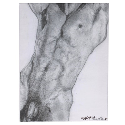 Kevin Ford Giclée after a Male Nude Graphite Drawing, 21st Century