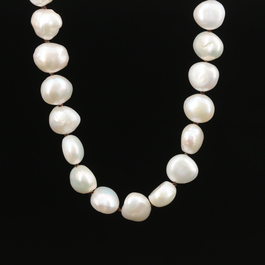 Single Strand Baroque Pearl Necklace with 14K Clasp and Contrasting Thread