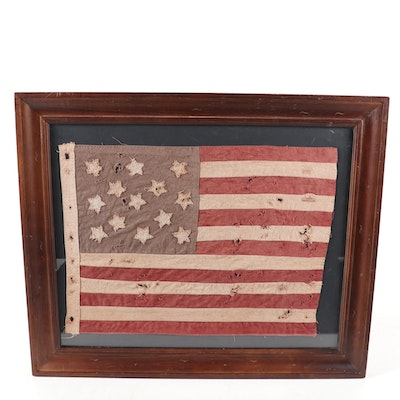 "Handmade United States ""13 Star"" Cotton Flag, 20th Century"