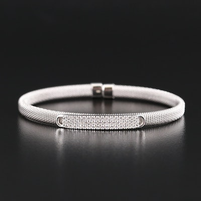 Sterling Silver Cubic Zirconia Flexible Cuff