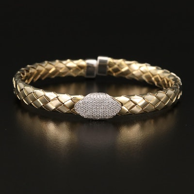 Sterling Cubic Zirconia Woven Cuff