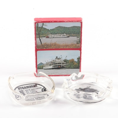 Delta Queen Playing Cards and Souvenir Glass Ashtrays, Mid-20th Century