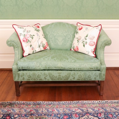 Camel-Back Loveseat in Sage Green Damask Upholstery, 20th Century