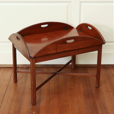 Victorian Mahogany Butler's Tray on Later Stand