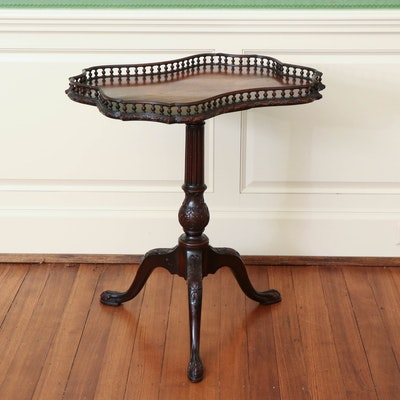 Queen Anne Style Finely Carved Tea Table with Bird Cage Detail, 18th Century