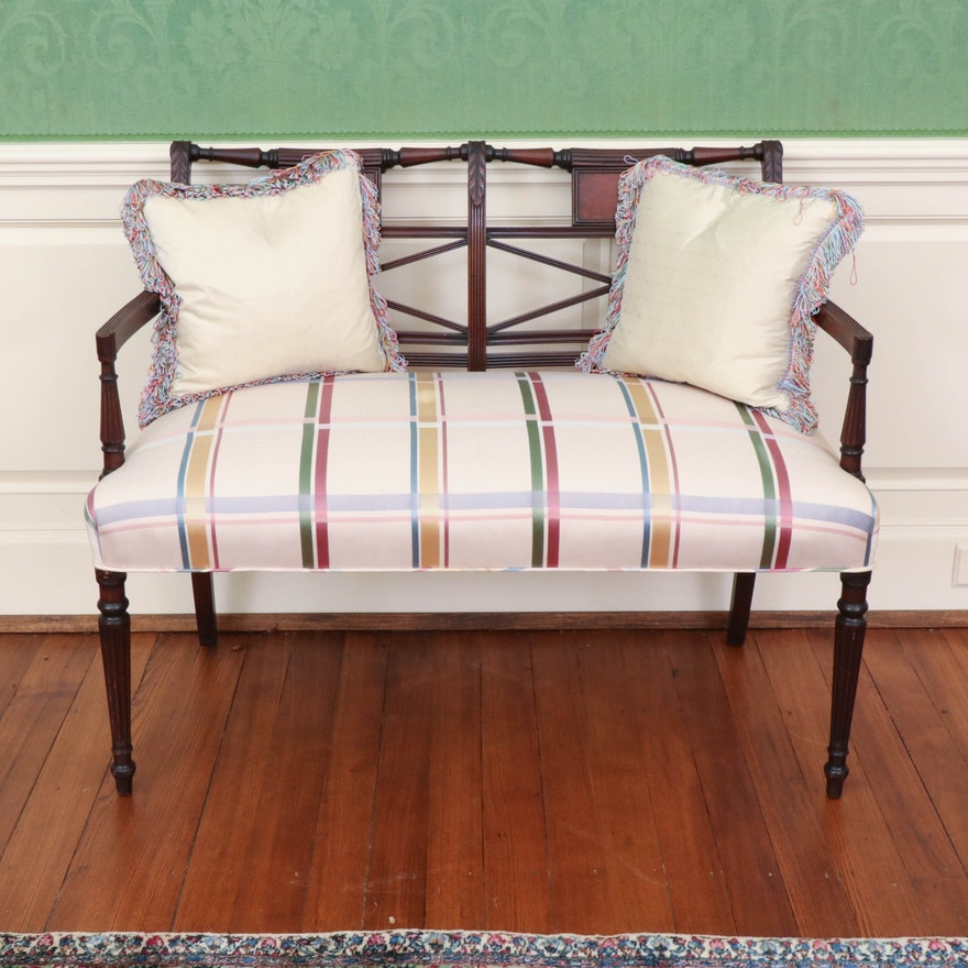 Classical Carved Mahogany Settee in Plaid Upholstery, 19th Century