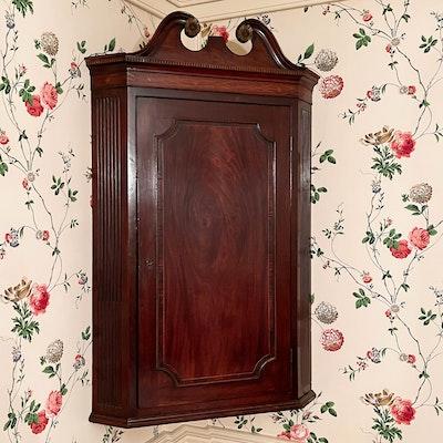 George III Mahogany Hanging Corner Cabinet
