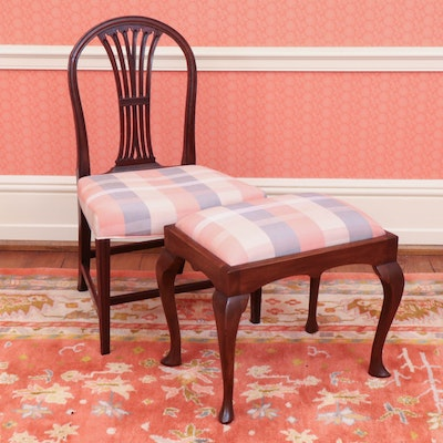 Mahogany Side Chair with Queen Anne Style Stool, 20th Century