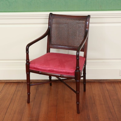 Hickory Chair Caned Mahogany Armchair, 20th Century
