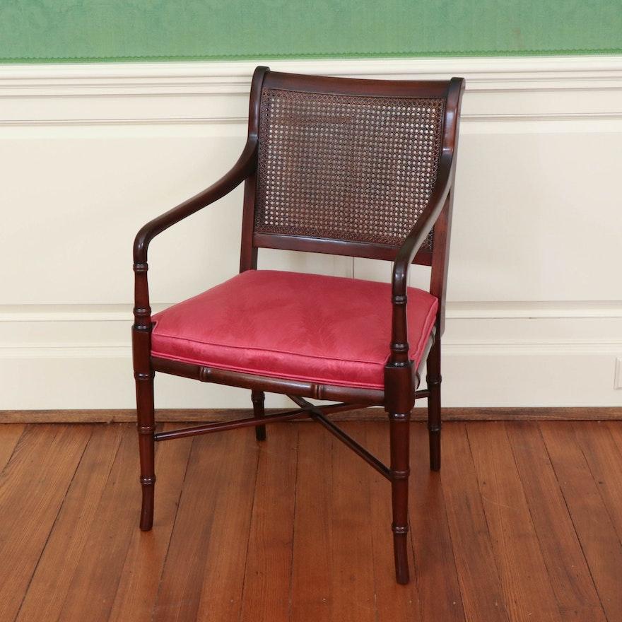 Hickory Chair Caned Mahogany Armchair, 20th Century