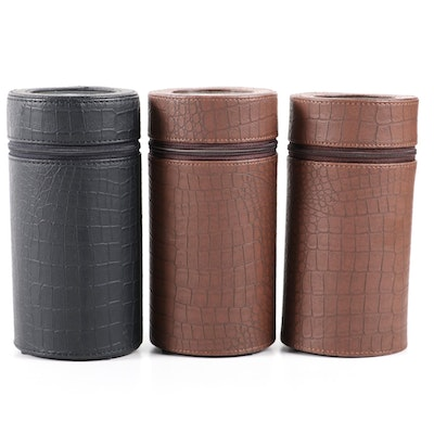 Bonded Leather Cylindrical Single Watch Winders