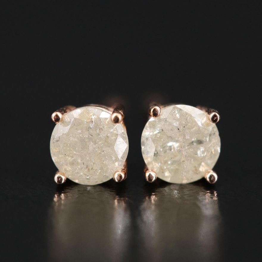 14K Rose Gold 0.70 CTW Diamond Stud Earrings