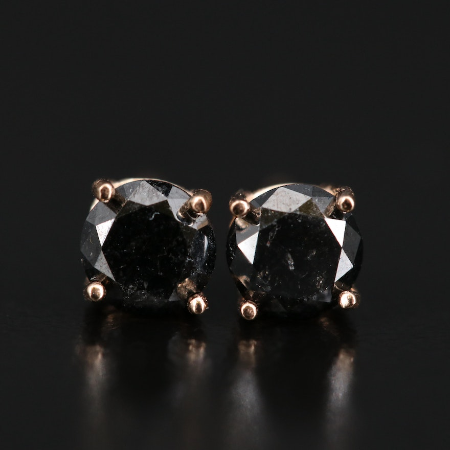14K Rose Gold 0.81 CTW Black Diamond Stud Earrings