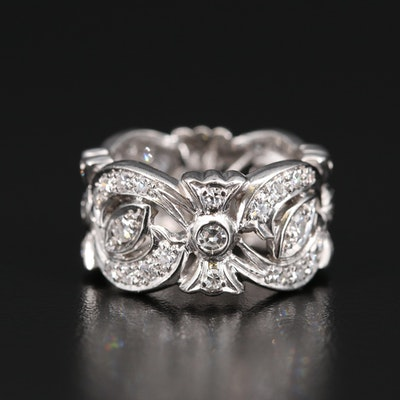Platinum 1.00 CTW Diamond Ribbon Patterned Band