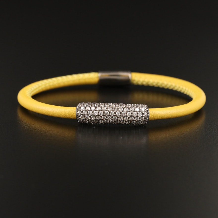 Sterling Cubic Zirconia and Leather Bracelet