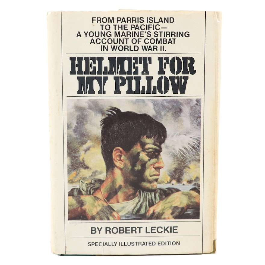 """Signed Bantam Illustrated Edition """"Helmet for my Pillow"""" by Robert Leckie, 1979"""