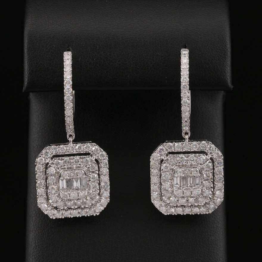 14K 4.03 CTW Diamond Drop Hoop Earrings