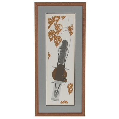 "Charley Harper Serigraph ""Furred Feeder,"" 1979"