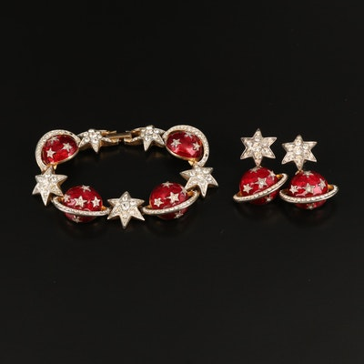 Butler & Wilson of London Stars and Saturn Enamel and Rhinestone Jewelry Set